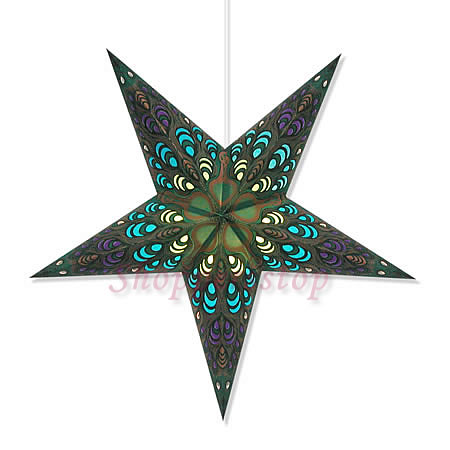 Paper Star Lamp Light Hanging Lantern Green With Cord